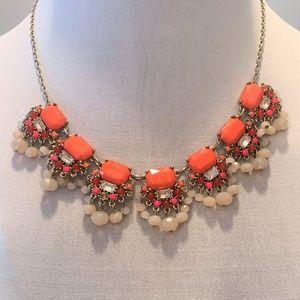 Statement Necklace Ann Taylor LOFT - Coral & Cream